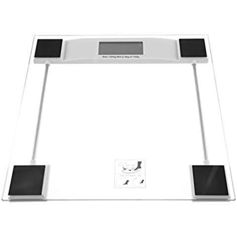 Precision Baño Escala 100G/0.2lb Báscula de baño 150kg/330lb–fabricado en de pantalla de cristal templado 6mm con una pantalla LCD digital que puede en kilogrammes endurecido, libras o Piedra. 1x CR2032Batería de