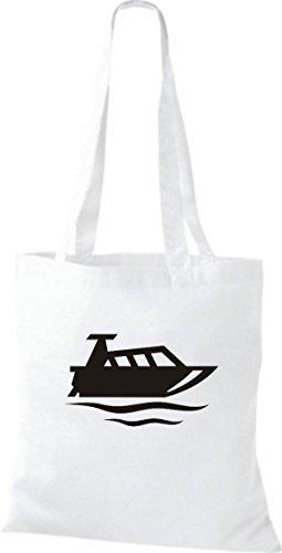 JUTA Tote Bag BARCA MOTORE, YACHT, barca, CAPITANO Bianco