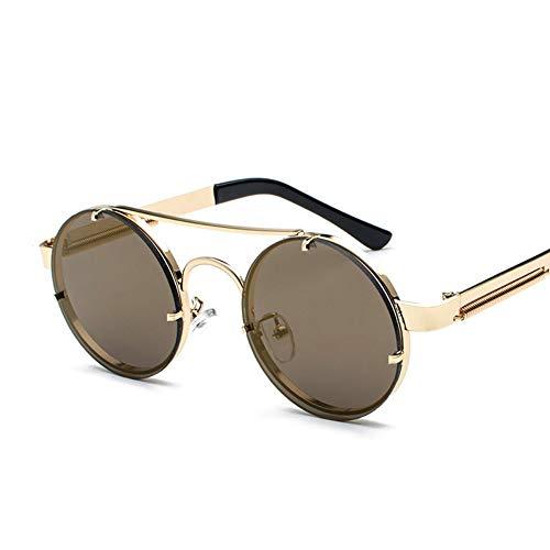 Sonnenbrille,Classic Retro Mode Runde Sonnenbrille Metall Frauen Männer Outdoor Driving Pilot Neue, Qualitativ Hochwertige Uv-Schutz Kaffee
