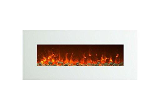 Elektrokamin Glow Fire Venus, 130 cm breit, Wandkamin elektrisch (1500 Watt Heizlüfter, Farbige LED-Beleuchtung; Glasscheibe, Dimmer, Fernbedienung) weiß (Flammen mit Kieseldekoration)