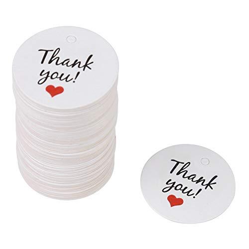 00 Stück weiße runde Geschenkverpackung Tags Original Design Papier hängen Label Handwerk Papier Kleidung Dessert Tags Preisschilder für Hochzeit, Baby-Dusche.(Thank You) ()