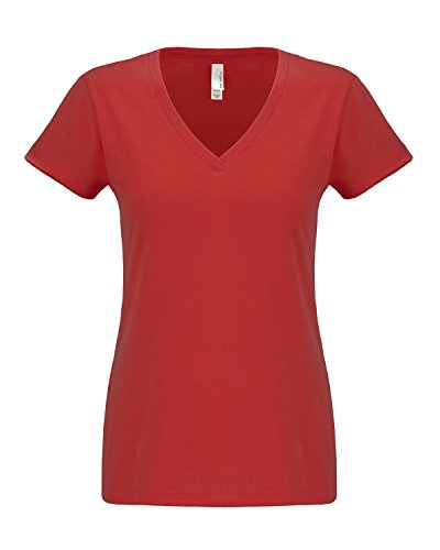Nächsten level-women Sueded Short Sleeve v-6480 Rot - Rot