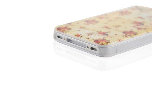 JAMMYLIZARD | Vintage Back Cover Hülle mit Muster für iPhone 4 und 4S, M9 FOTOAPPARAT GELBES BLUMENMOTIV