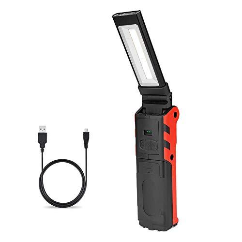 Coquimbo USB ricaricabile Lampada da lavoro, lampada da ispezione LED Torcia COB Luce di Lavoro portatile pieghevole con base magnetica e gancio per campeggio, escursionismo, officina (grande)