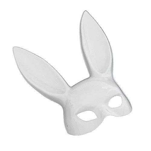 Kostüm White Bunny Black Sexy & - Calistous Hasenmaske, sexy Maske, Nachtclub, Kaninchen, halbes Gesicht, Kostüm, Zubehör für Ostern, Halloween, Eva, Party Bright White