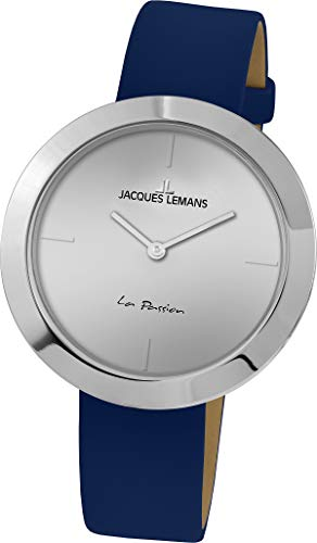 Jacques Lemans La Passion Femme 37mm Bracelet Cuir Bleu Quartz Montre 1-2031C