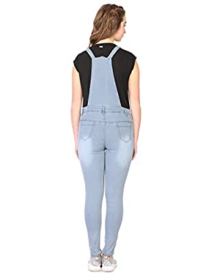 Sfine Denim Solid Casual Dungaree for Women