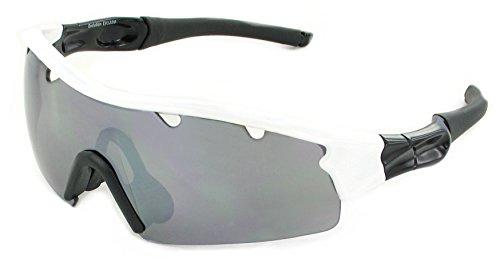 Evolution Eyewear Tours Sonnenbrille zum Radfahren (Weiß, grau mit silbernem Spiegelglanz)
