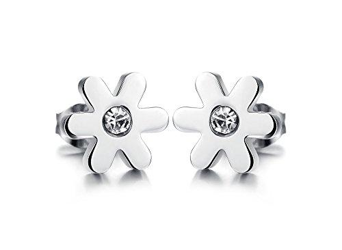 FJYOURIA Damen-Ohrstecker aus Titan-Stahl in süßem Gänseblümchen-Stil mit -