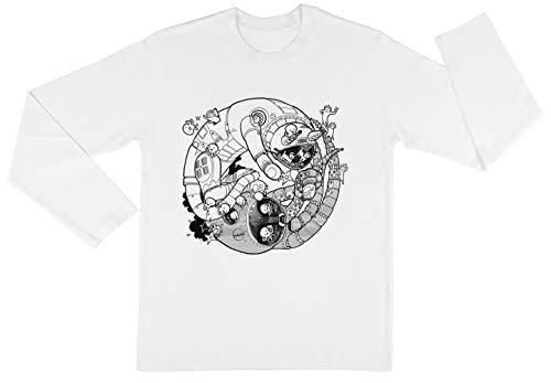 Los Yin-Yang Robo ¡Lucha! Niño Niña Unisexo Blanco Camiseta Mangas Largas Kids...