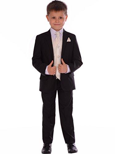 Jungen-Klage-5pc Schwarz Ausgestattet Suit Mit Sahne Weste, Halstuch und Pocket-quadratische Hochzeits Pageboy formale Klage 0-3m, um 14-15 Jahre (Ausgestattet Sahne)