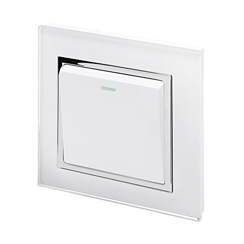Retrotouch Crystal 1-Gang 2-Way 10A Light Switch White Glass with Chrome Trim