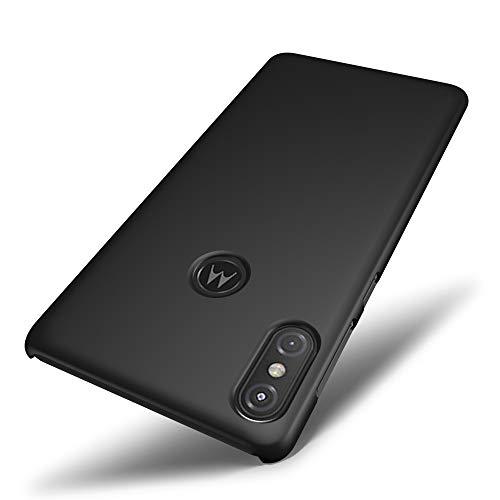 SLEO Motorola Moto One Power Hülle, Hart PC [Robuste Schutzhülle] Handyhülle Tasche Schlank Schale Hard Cover für Motorola Moto One Power Case - Schwarz