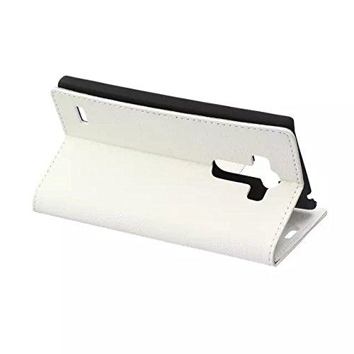 LG G4 Beat G4S Fall, Solid Color Kas Textur Muster Leder Schutzhülle Case Horizontal Flip Standplatz Fall mit Kartensteckplätze für LG G4 Beat G4S ( Color : White , Size : LG G4 Beat G4S ) White