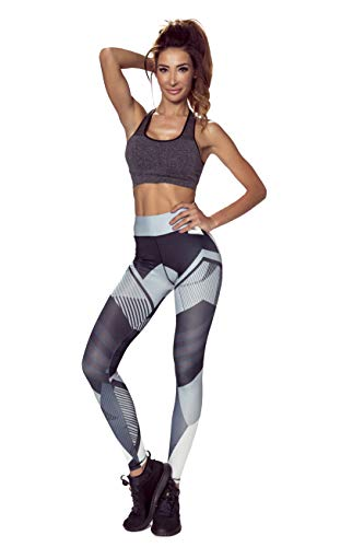 Amazinggirl Leggings für Damen Mädchen Sportleggins lang hohe Taille Sporthose SportLeggins Gr. M schwarz grau weiß
