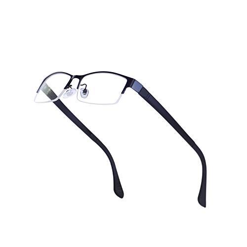 JoXiGo Mezzo Metallo Rettangolari Montatura Occhiali da Vista per Uomo Lente Trasparente con Custodia