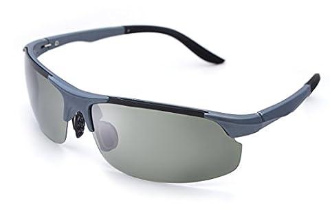 VEASTI Herren Sport Stil Polarisierten Sonnenbrille Brillen TR90 (Gray Frame with green Lens)