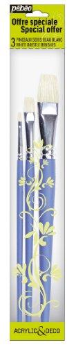 Pébéo 951100 1 Pochette de 3 Pinceaux Plat Soies Beau Blanc