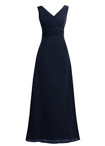 Dresstells Damen Abendkleider Bodenlang Homecoming Kleider Brautjungfernkleider Marineblau