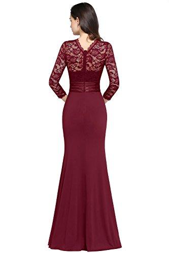 MisShow Damen Elegant Langes Abendkleid Ballkleider Spitzenkleider Brautjungferkleider 3/4 Arm Gr.32-46 Weinrot