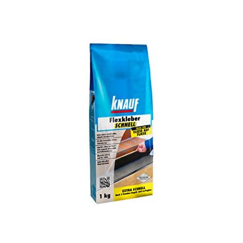 Knauf Flexkleber Schnell, Klebe-Mörtel Fliesenkleber - Fliesen- und Naturstein-Kleber für Wand und Boden, schnell trocknend, zur Anwendung beim Fliesen-Legen innen und außen, 1-kg