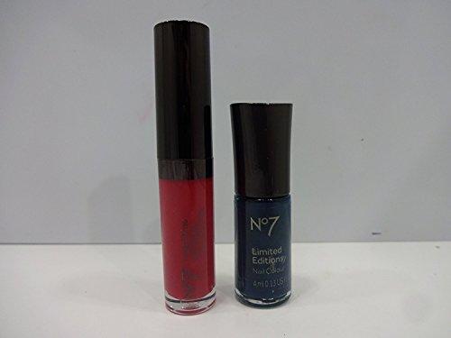 7 High Shine Lip Gloss (No7High Shine Lip Gloss Pink Hortensie & No7Limited Editions Nail Blaugrün 4ml)