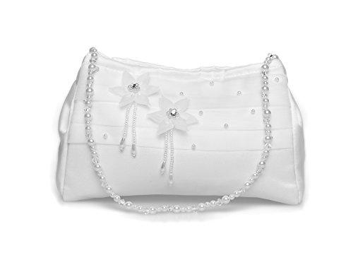 Flora Mädchen Heilige Kommunion Dolly Tasche / Brautjungfer Brauthandtasche , Organza-Blumen (Weiß)