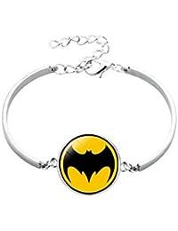 TBOP Yellow Metal Wristband Superhero Icon Time Gem Bracelet for Kids of Batman