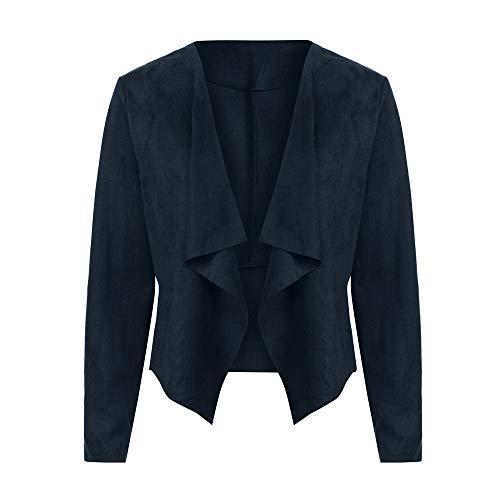 CUTUDE Mantel Damen, Frauen Leder Vorne öffnen Kurz Cardigan Passen Arbeit Büro Jacke Winter Jacken Coat Outerwear (Marine, M)