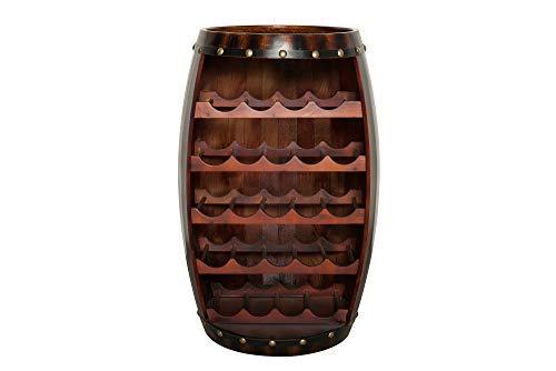 DuNord Design Weinregal Fass Holz Regal 23 Flaschen 80cm Flaschenregal braun Tannenholz Massiv