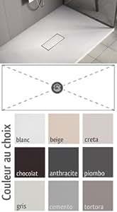 Receveur de douche bonde centrale Blanc 80 x 100 cm