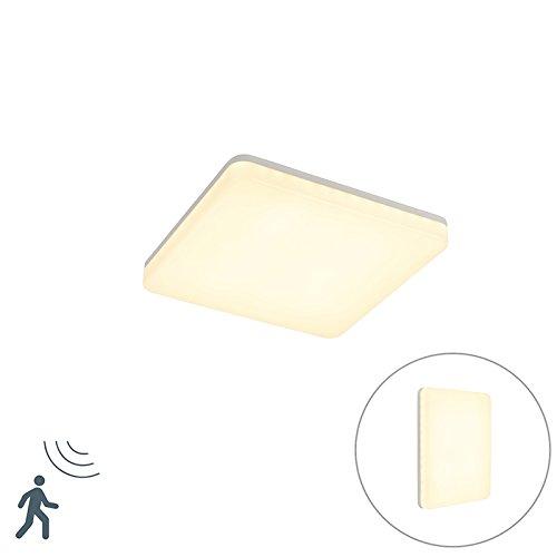 QAZQA Modern Moderne quadratische Bad/Badezimmer Außen Deckenleuchte/Deckenlampe/Lampe/Leuchte weiß inkl. LED mit Bewegungsmelder - Plater/Außenbeleuchtung/Wohnzimmerlampe/Küche Kunststo