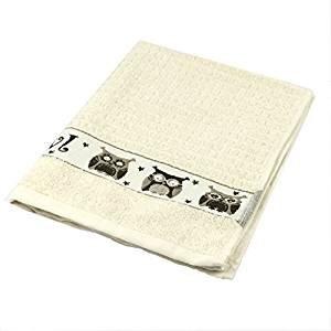 RIGGS Küche Handtuch Eulen creme 50x 65cm 100% Baumwolle Premium Qualität Küche Geschirrtuch Creme