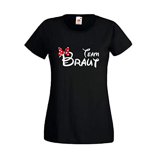 Damen T-Shirt JGA Junggesellinnenabschied Braut Team Gruppen Rundhals Shirt mit Spruch Ladyfit Braut Maus + Team Braut Schwarz - Team Braut M