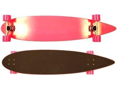 Moose Pintail Longboard Dipped Pink/Black Grip Complete Skateboard Cruiser