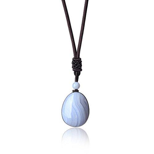 coai® Geschenkideen Glückskette aus Chalcedon Blau Träne und Wassertropfen Anhänger für Damen und Herren