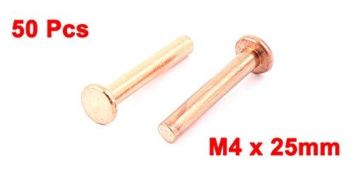 50 piezas de 0,4 cm x 2,54 cm cabeza plana remaches sujetadores de cobre sólido