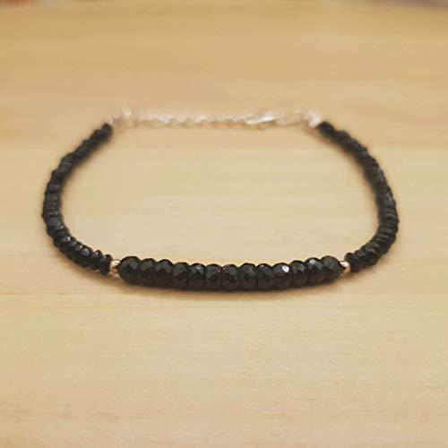 Für Kostüm Einfache Mütter - Schwarzer Spinell Roundel Saucer Perlen Armband Sterling Silber August Geschenk für ihren Schmuck