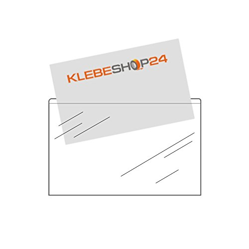 Visitenkartentaschen selbstklebend | Breite Seite offen | Transparent | 20 oder 100 Stück | 95 x 60 mm | Visitenkartenhüllen zum Einkleben | Kartenhüllen zum Kleben / 20 Stück