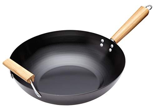 Kitchen Craft Pure Oriental Wok aus Karbonstahl mit Holzgriff und Antihaftbeschichtung Non-stick Wok