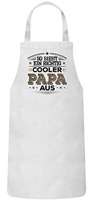 ShirtStreet Lustige Geschenkidee Vatertag Frauen Herren Barbecue Baumwoll Grillschürze Kochschürze So Sieht EIN richtig Cooler Papa aus