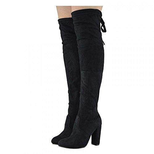 Kick Footwear Womens Schwarz über Den Knie Schenkel Hohe Block Heel Stiefel - UK 8/EU 41, Black Velvet/Knee High, Casual Evning Party Clubbing Stretch Boots (Block-ferse-knie-boot)