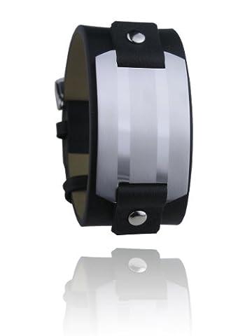 Leder Armband Schwarz Mit Edelstahl Platte Breite 30mm - Männerschmuck (Männerschmuck Armband)
