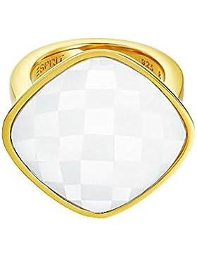 Esprit Damen-Ring Edelstahl rhodiniert Glas Glaskristall impressive white weiß