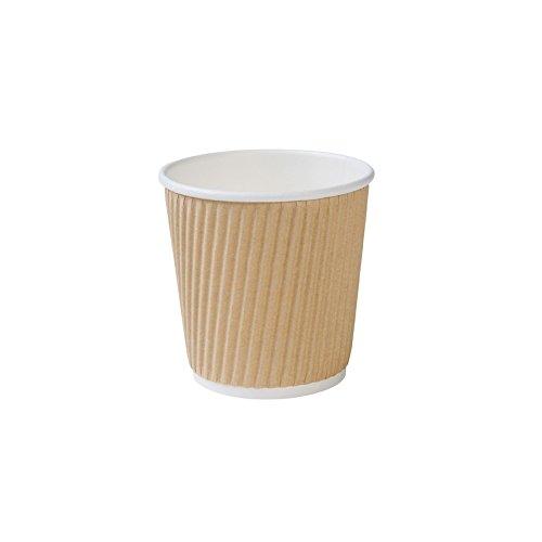 BIOZOYG 500x gobelets striés Bio jetables | Carton Kraft Marron | 100ml, 4oz | Carton Kraft | 100% biodégradable, certifié compostable | revêtement Bio | sans Plastique | Non imprimé