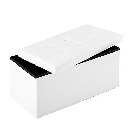 Merax® Sitzhocker Sitzbank mit Stauraum faltbar 2-Sitzer belastbar bis 300 kg Kunstleder Weiß 76 x 38 x 38 cm