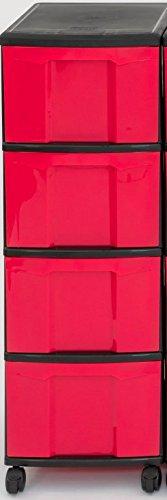 Unbekannt IRIS Schubladenbox mit Rollen, Kunststoff, rot/schwarz (4 große) - Schubladenschrank...