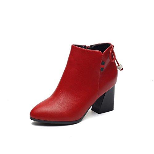 XZ Autunno e Inverno Inghilterra Retro Tacchi Alti Moda Trapano a Pendolo Zip Laterale Stivali da Donna Rosso