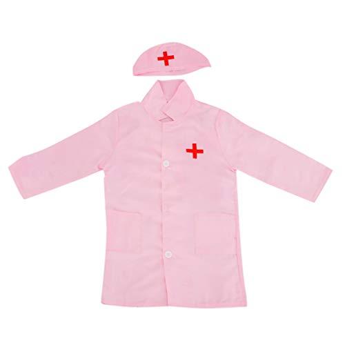 rzt/Krankenschwester Kostüm Laborkittel Arztkittel mit Kappe Uniform - Pink ()