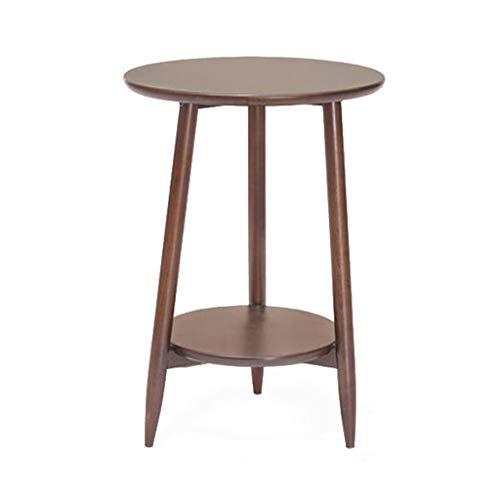 M-JH Table d'appoint, Table d'appoint à Double extrémité avec Table Basse Ronde en Bois Massif, Facile à Assembler (Couleur : Walnut Color)